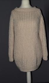 Longpullover - Gr. 36/38 - handgestrickt - natur weiß - Handarbeit kaufen