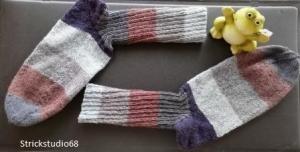Socken - Gr. 44/45 - handgestrickt - Blockstreifen - blau / grau / braun - Handarbeit kaufen