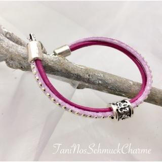 ☆ Schickes Armband Flieder/Pink mit Schiebeperle Lederarmband  Gr. 18-19 ☆