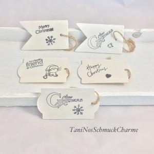 ☆ Weihnachten Geschenkanhänger Holz mit Schriftzug weiß/creme ☆