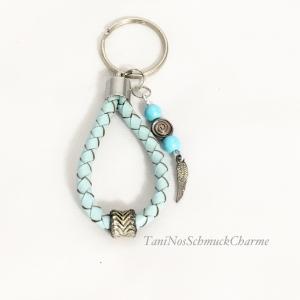 ☆ Schlüsselanhänger Hellblau Perlen Feder Damen ☆