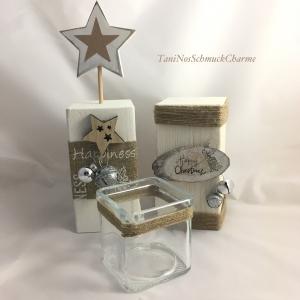 ☆ Weihnachtsdekoration 2er Set Holz Weiß Stern Dekoration mit Teelichtglas ☆