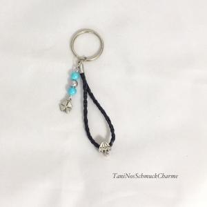 ☆ Schlüsselanhänger Schwarz Perlen Türkis  Damen ☆
