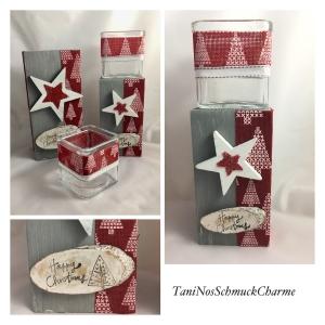 ☆ Weihnachtsdekoration 2er Set Holz Grau Rot Stern Dekoration mit Teelichtgläsern ☆