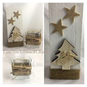 ☆ Weihnachtsdekoration Holz Weiß Natur Gold  Stern Dekoration mit Teelichtglas ☆
