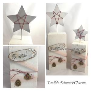 ☆  Weihnachtsdekoration 2er Set Holz Weiß Rose  Dekoration Stern ☆