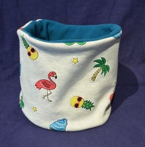 Handgemachter Schal mit Flamingos und Glitzer