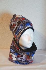 Wunderschönes Set aus Mütze und Schal mit Grafittimuster