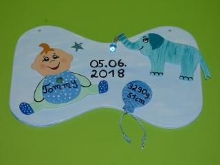 Türschild Wandschild Wanddeko 30x18cm Geburt Happy Baby - Handarbeit kaufen