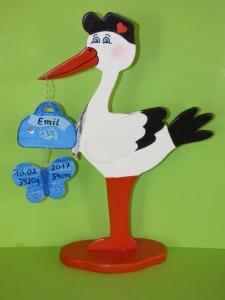 Klapperstorch Storch Geburt 45cm individuell Gulliver - Handarbeit kaufen