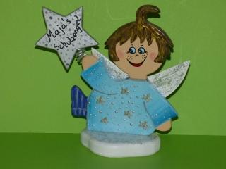 Schutzengel Engel mit Stern aus Holz 18cm Sternchen