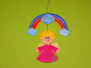 Schutzengel Enge Geburtl Holz 21 cm Regenbogen - Handarbeit kaufen