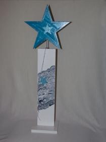 Dreifachstern Festtagsglanz handgemacht aus Holz mit Glitzer individualisierbar Höhe 80cm