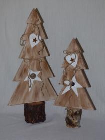 Baumduo x-mas handgemacht aus Holz Weihnachtsdeko Höhe 44cm und 34cm - Handarbeit kaufen