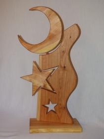 Weihnachtsdeko Mond und Sterne handgemacht aus Lärchenholz für Außen Höhe 75cm