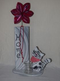 Außendeko Cat aus Holz Katze mit Stehle und Blüte Höhe 67cm Holzdeko für Aussen - Handarbeit kaufen