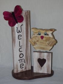Haus- und Gartendeko Eulenliebe aus Holz Stehle mit Schmetterling Höhe 50cm Holzdeko - Handarbeit kaufen