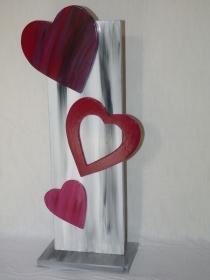 Dekostehle ♥Herzromanze♥ mit Herzen zur Dekoration oder als Geschenk aus Holz Höhe 62cm - Handarbeit kaufen
