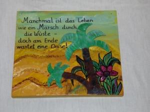 Holzbild Wüstenoase Wandbild Wanddeko 29x25cm - Handarbeit kaufen