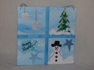 Weihnachtsfenster Schneegestöber - winterliches Motiv - Handarbeit kaufen