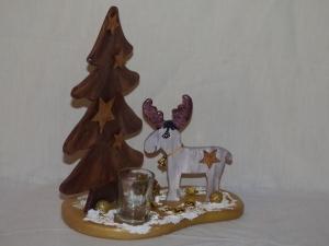 Weihnachtsdeko Figur Elch und Baum mit Teelichtglas, Tischdeko - Handarbeit kaufen