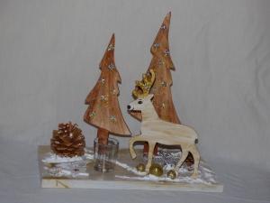 Weihnachtsdeko mit Hirsch Baum und Teelichtglas, Tischdeko - Handarbeit kaufen