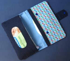 Windeltasche - Wickeltasche - Füchse - Punkte dunkelblau - Handarbeit kaufen
