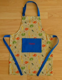 Kinderschürze / Küchenhelferset - Zoo ABC - schilf - auf Wunsch personalisiert - Handarbeit kaufen