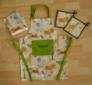 Kinderschürze / Küchenhelferset - Safari - auf Wunsch personalisiert - Handarbeit kaufen