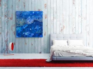 Sale 25%: Blueman - Kunstdruck 100 x 100 cm / Leinwanddruck / Expressionistisch / Art Print