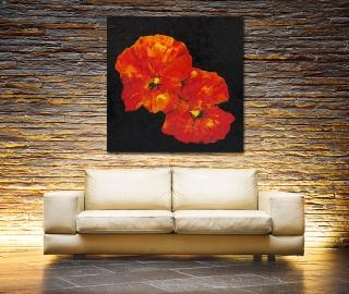 Sale 25%: Nasturtium - Floraler Kunstdruck 80 x 80 cm / Art Print / Leinwanddruck