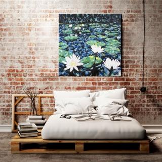Sale 25%: Seerosen  - Kunstdruck 80 x 80 cm / Leinwand / Art Print / Moderne Kunst