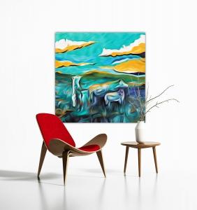 Sale 25%: Drei Bären - 80 x 80 cm - Kunstdruck auf Leinwand / Art Print / Expressionistisch