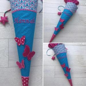 Handgefertigte Schultüte mit 3D Schmetterling und Namen ♥ - Handarbeit kaufen