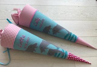 Handgefertigte Schultüte mit Namen und Delfin - Handarbeit kaufen