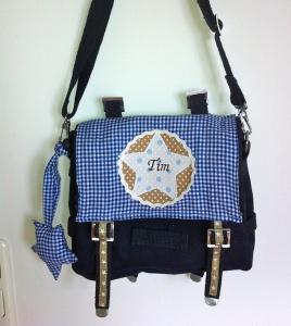 Handgefertigte Kindergartentasche mit Stern und Namen  - Handarbeit kaufen