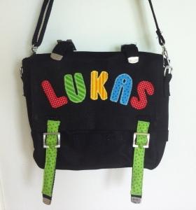 Handgefertigte Kindergartentasche mit applizierten Buchstaben, mit Namen - Handarbeit kaufen