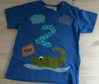 handgefertigtes Geburtstagsshirt mit Zahl, Krokodil und Namen  - Handarbeit kaufen