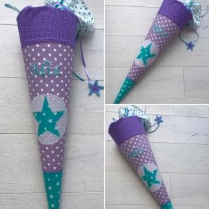 handgefertigte Schultüte mit Stern und Namen ★ - Handarbeit kaufen