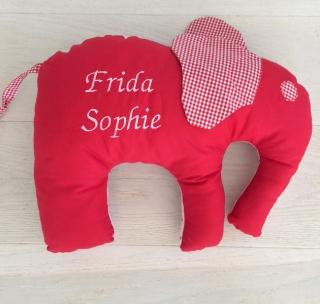handgefertigtes Elefanten-Kissen mit Namen zur Geburt oder Taufe  - Handarbeit kaufen