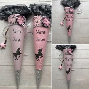 Handgefertigte Schultüte mit Einhorn und Namen ★   - Handarbeit kaufen