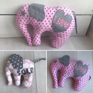 handgefertigtes Elefanten-Kissen mit Namen zur Geburt oder Taufe (Kopie id: 100253459) - Handarbeit kaufen