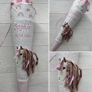 handgefertigte Schultüte mit Pferd und Namen: Einzelstück!