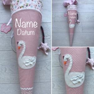 Handgefertigte Schultüte mit Schwan und Namen ★