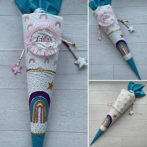 Handgefertigte Schultüte mit Namen und Regenbogen♡ ; Eimzelstück  - Handarbeit kaufen