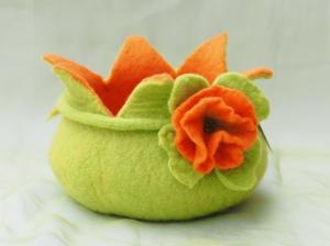 * Filzschale für Ostern oder Frühling * Aus 100 % Wolle mit großer Blüte