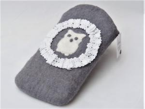 * FÜR EULENFANS * Süße Hülle/Etui aus 100 % Wolle mit Eulenapplikation und Spitzenbordüre - Handarbeit kaufen