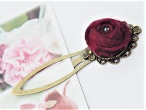 Nostalgisches Lesezeichen aus Metall und kleinem handgearbeiteten Röschen aus 100 %Wolle  - Handarbeit kaufen