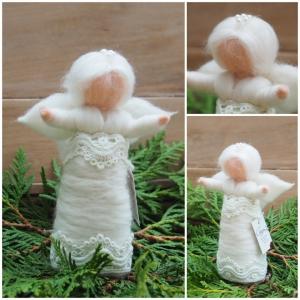 Engelchen * Handgearbeitet * Feinste Wolle * Glänzendes Seidenhaar * Weiß * Spitze und Krönchen * Stehend - Handarbeit kaufen