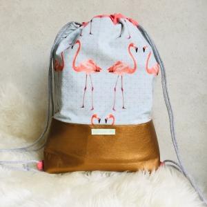 Flamingo Frühling Turnbeutel/Rucksack/Beutel mit blumigem Muster und kupfernem Kunstleder ~ Wollabee ~ Trenddesign